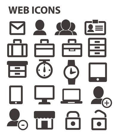 Office   website icons,Black version Stock Vector - 24828980