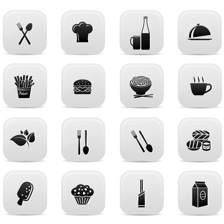 Food buttons,Black version Vector