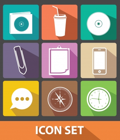 Office icons,Flat buttons,Colorful version,vector  Vector