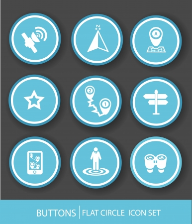 Navigator icons,Blue version,vector Vector