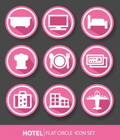 Hotel buttons,Pink version,vector Vector