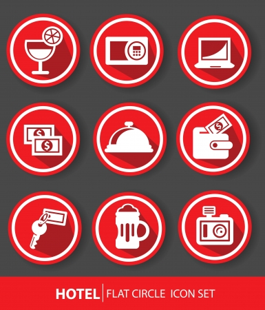 Hotel buttons,Red version,vector Vector