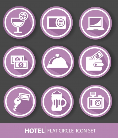 Hotel buttons,Violet version,vector Vector