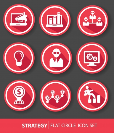 Strategy,Business buttons,Red version,vector Vector