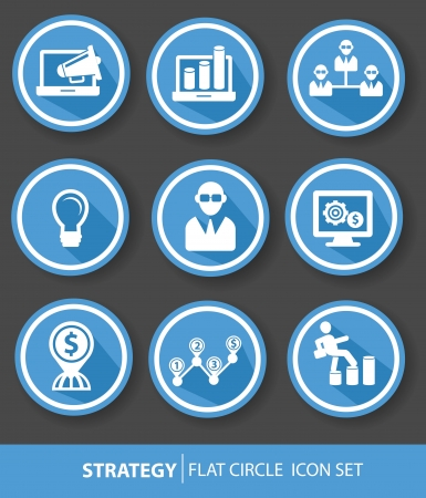 bank statement: Strategy,Business buttons,Blue version,vector