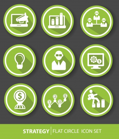 Strategy,Business buttons,Green version,vector Vector