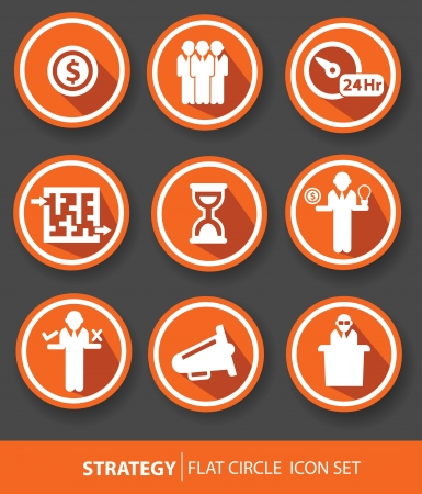 Strategy,Business buttons,Orange version,vector Vector