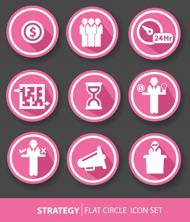 Strategy,Business buttons,Pink version,vector Vector