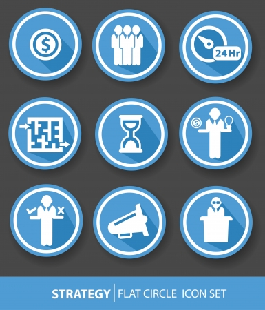 Strategy,Business buttons,Blue version,vector
