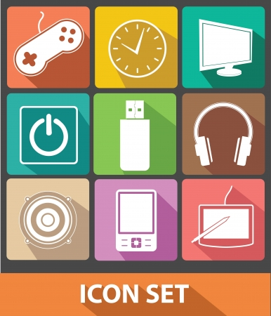 Technology icons,Colorful buttons,vector Vector