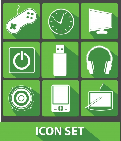 Media icons,Green buttons,vector Stock Vector - 24846874