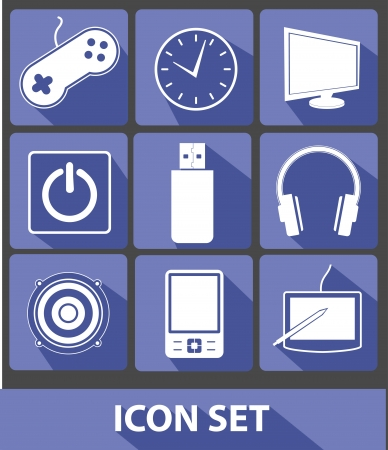 blue buttons: Media icons,Blue buttons,vector