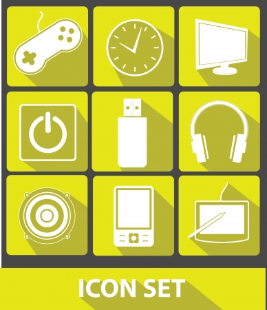 Media icons,Yellow buttons,vector Vector