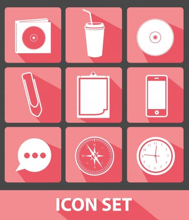 feed back: Office icons,Pink buttons,vector