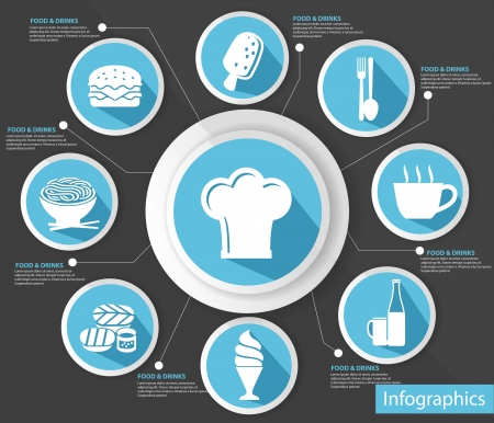 Cooking concept,abstract,Bl ue version,vector Vector