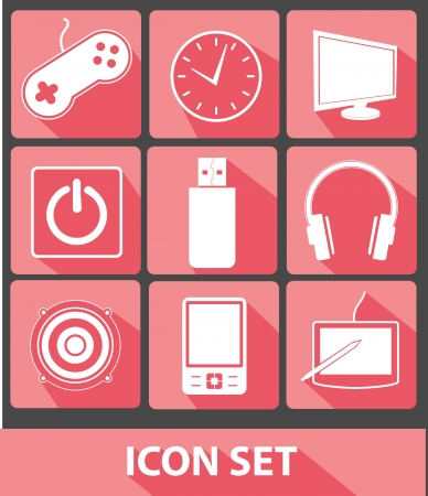 Media icons,Pink buttons,vector Vector