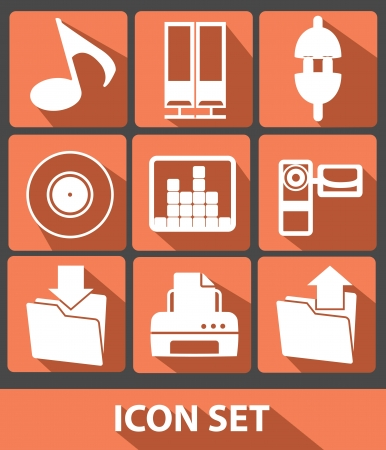 Media icons,Orange buttons,vector Vector