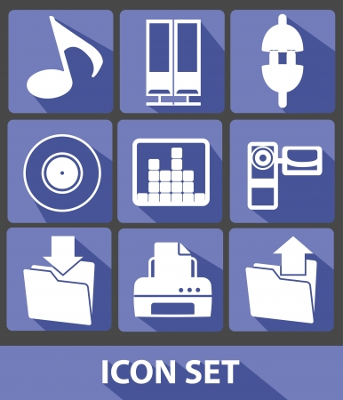Media icons,Blue buttons,vector Vector