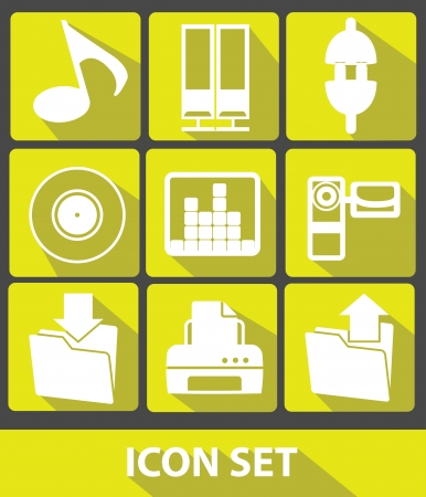 cd recorder: Media icons,Yellow buttons,vector Illustration