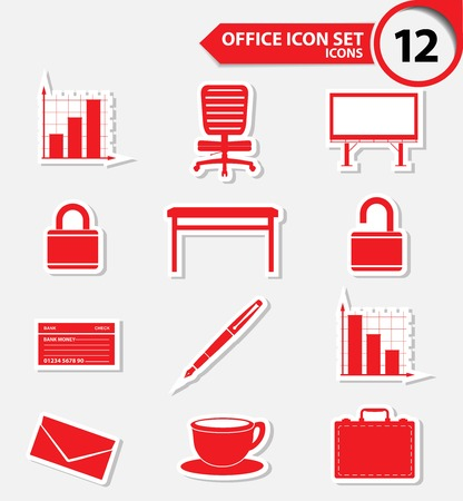 Office icons,Red version,vector Vector