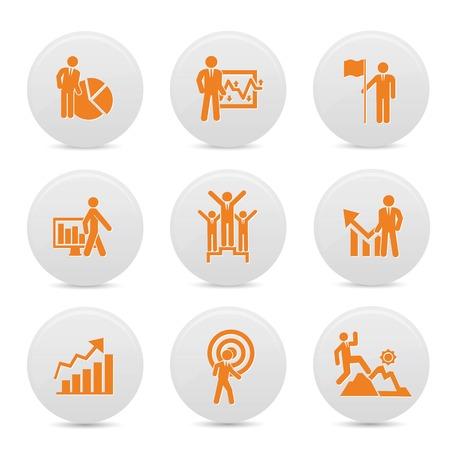 Human resource buttons,Orange version,vector