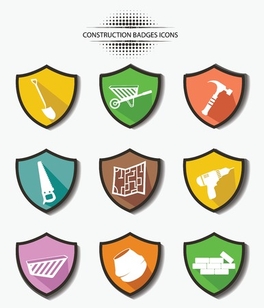 silicone gun: Industry badges,colorful version,vector Illustration