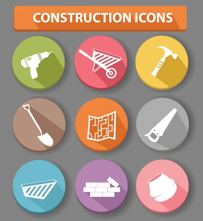 concrete stairs: Construction buttons,colorful version,vector