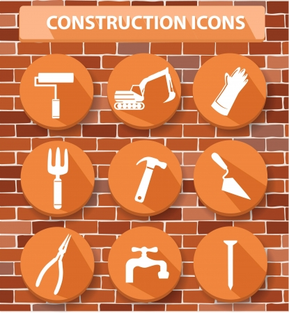 Construction buttons,orange version,vector Vector