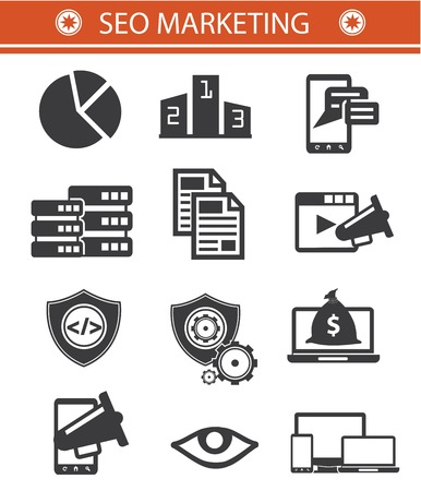 SEO Marketing icons,Black style,Version 01 Vector