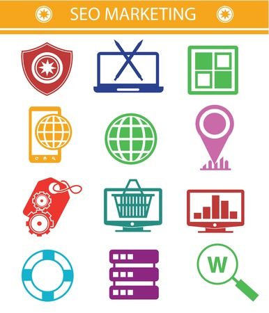 SEO Marketing icons,Colorful style,Version 02 Vector