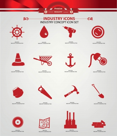habiliment: Industrial   Construction icons,Red version,vector