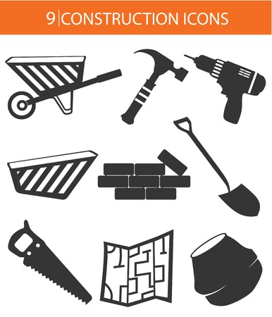 Construction objects,Black version,on white background Vector