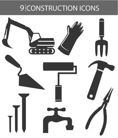 jack hammer: Construction objects,Black version,on white background