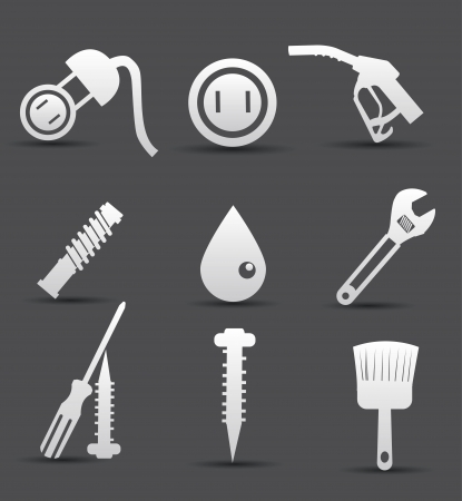 Construction objects,on Dark background Vector