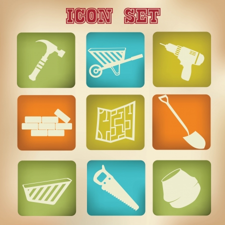 Construction icons,vintage version,vector Vector