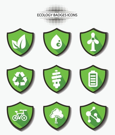 Ecology badges,green version,vector Vector