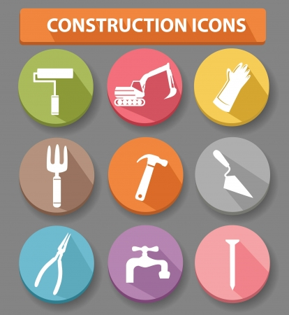 Construction buttons,colorful version,vector Vector