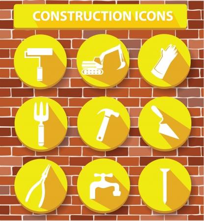 Construction buttons,Yellow version,vector Vector