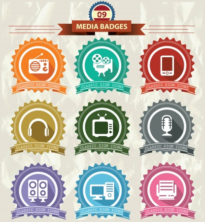 Media Badges icons,Retro style,vector Vector