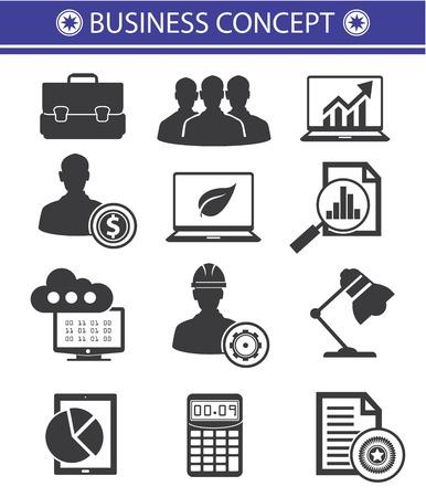 team management: Business Concept icons,Black style