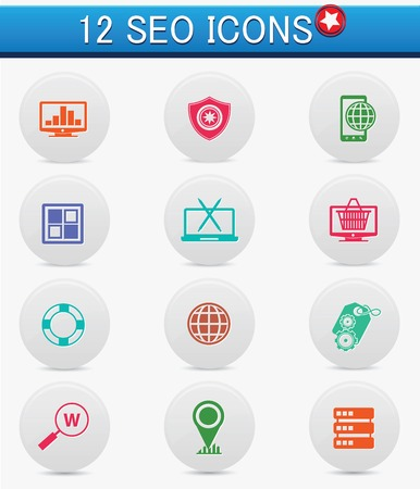 12 SEO and Marketing buttons,vector Vector