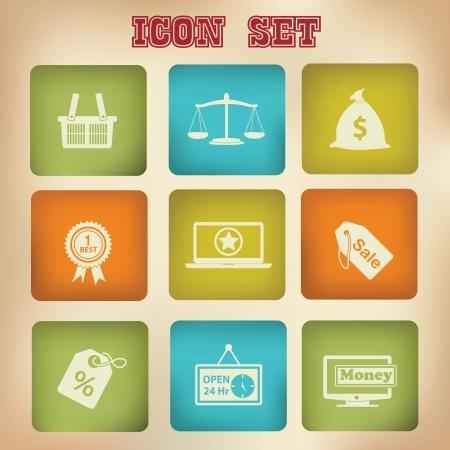 Marketing icons,Vintage version,vector Vector