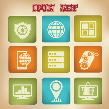 Marketing and Seo icons,Vintage version,vector Vector