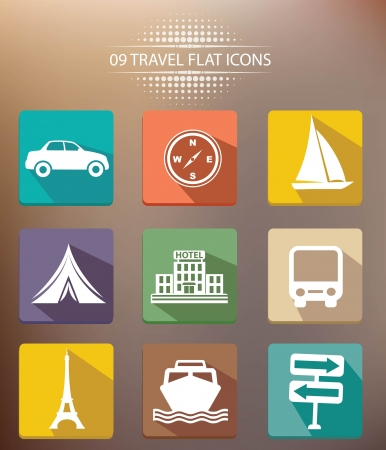 Travel shadow icons,vector Vector