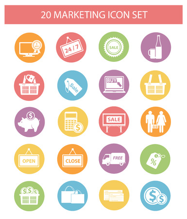 Marketing and shopping icons,Colorful version,vector