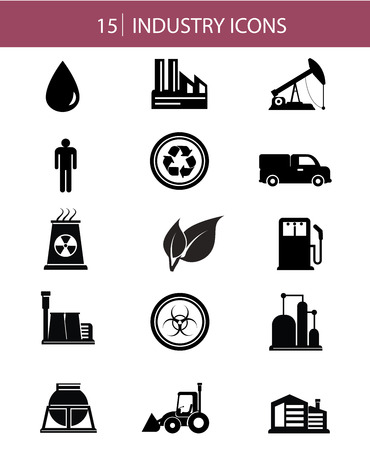 Industry icons on white background,black version,vector