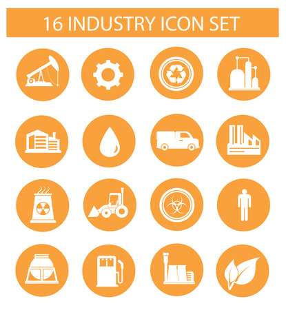 Industry icons on white ,orange version Vector