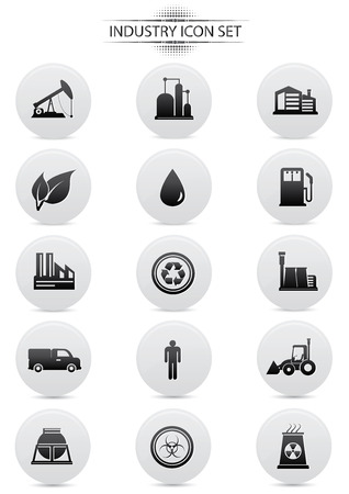 Industry icons on white background,dark version,vector Vector