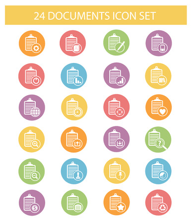 monograph: Documents icons,Colorful version,vector