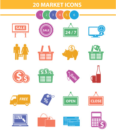 20 Market and shopping icons,Colorful version,vector Vector